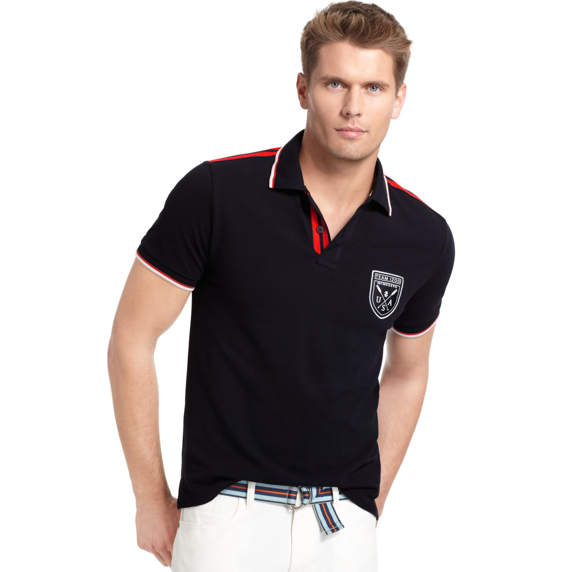 f7b211bec IZOD Mens Stretch Rugby Polo Shirt Izod Polo: Izod Slim Fit Colorblock Pique  Polo Shirt In Blue For Men
