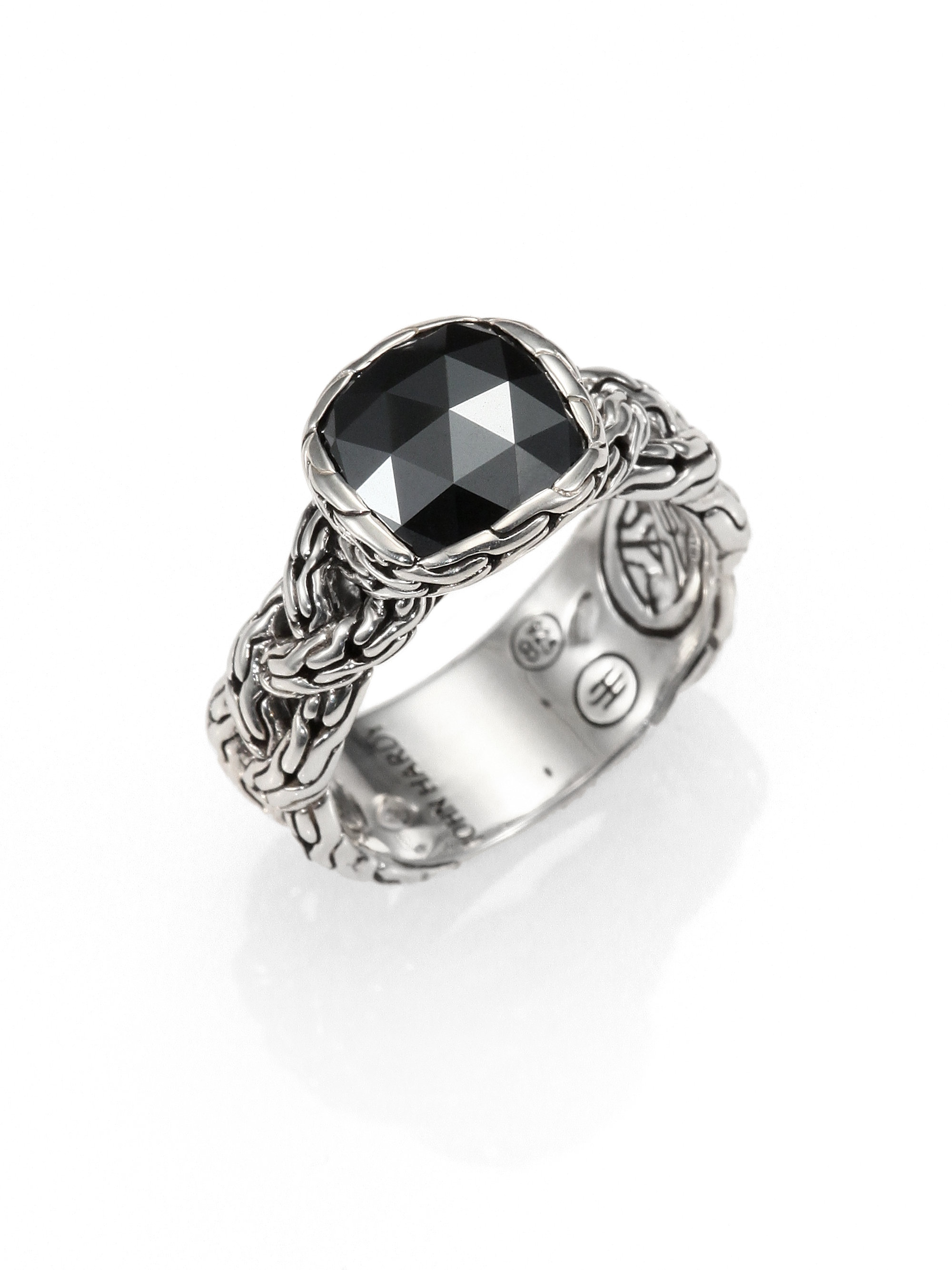 hardy hematite sterling silver braided ring in silver