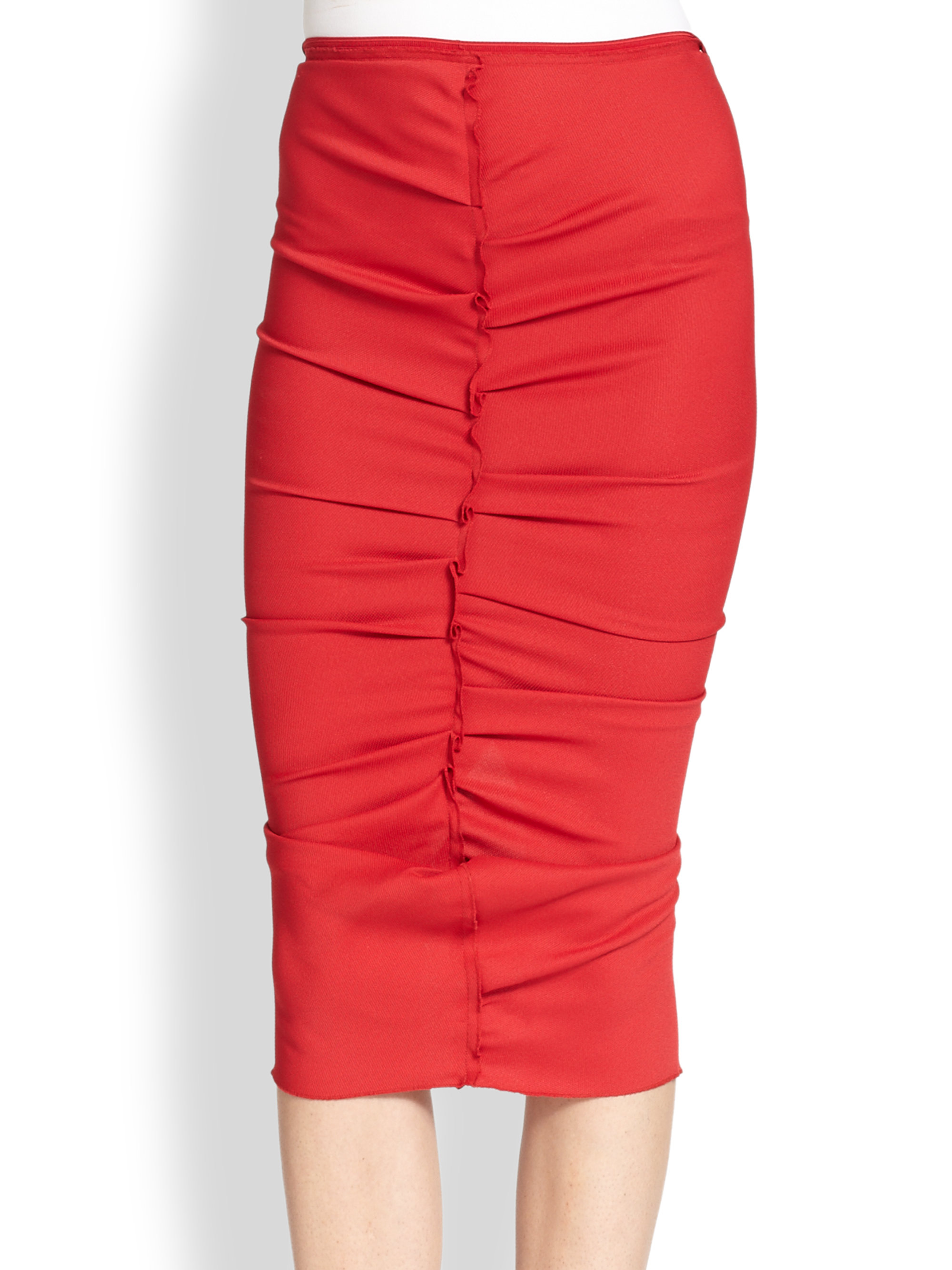 ricci gathered stretch jersey pencil skirt in lyst