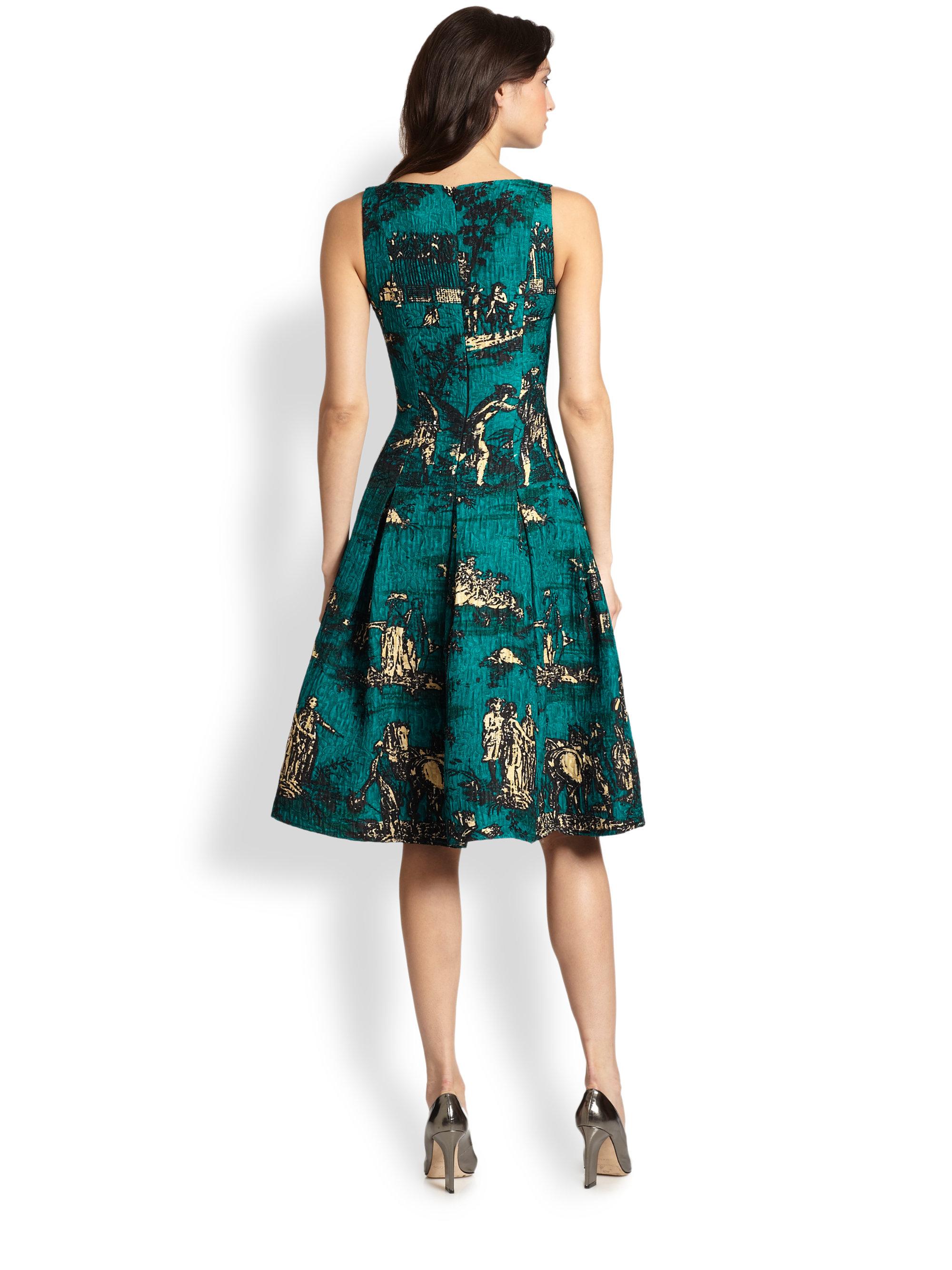 Oscar De La Renta Toile Print Day Dress In Green Lyst