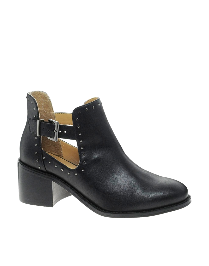 River island Stud Cut Out Ankle Boots in Black | Lyst