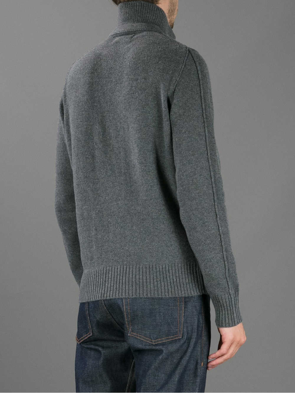Lyst Stone Island Button Down Sweater In Gray For Men
