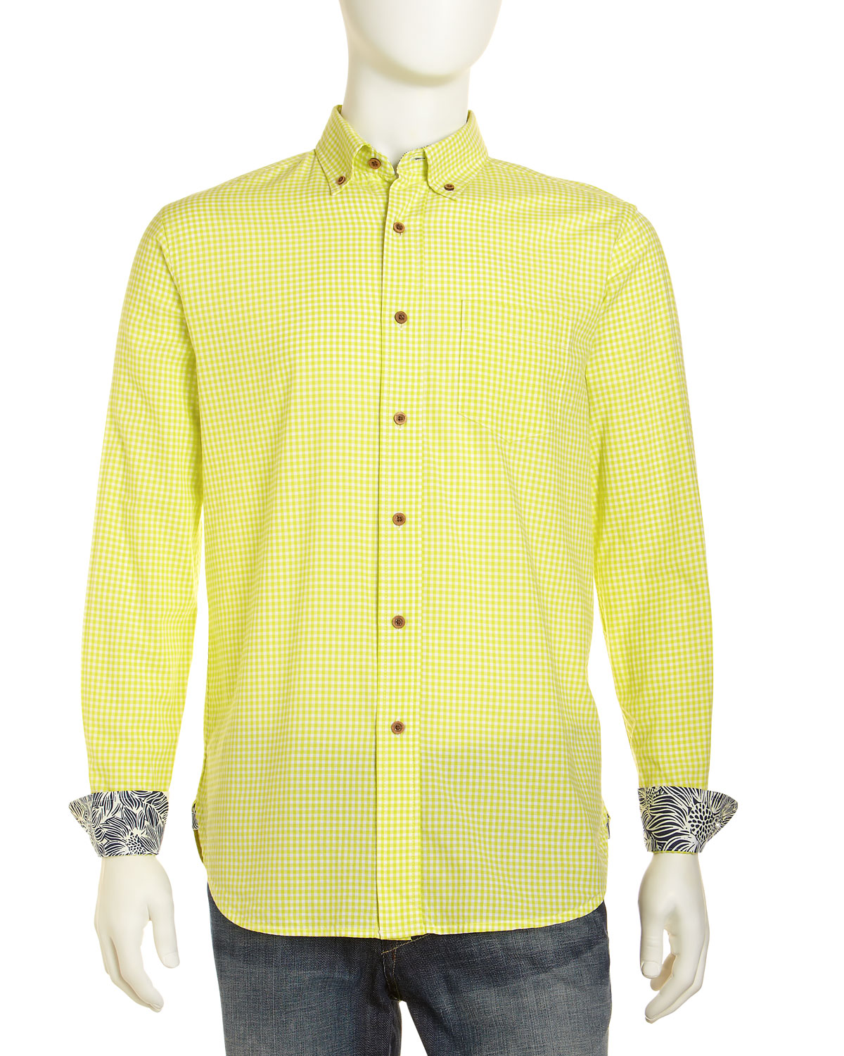 Tailor Vintage Gingham Dress Shirt Lime In Yellow For Men