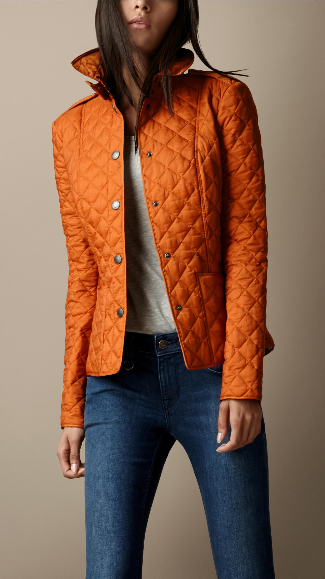 Lyst Burberry Heritage Quilted Jacket In Orange