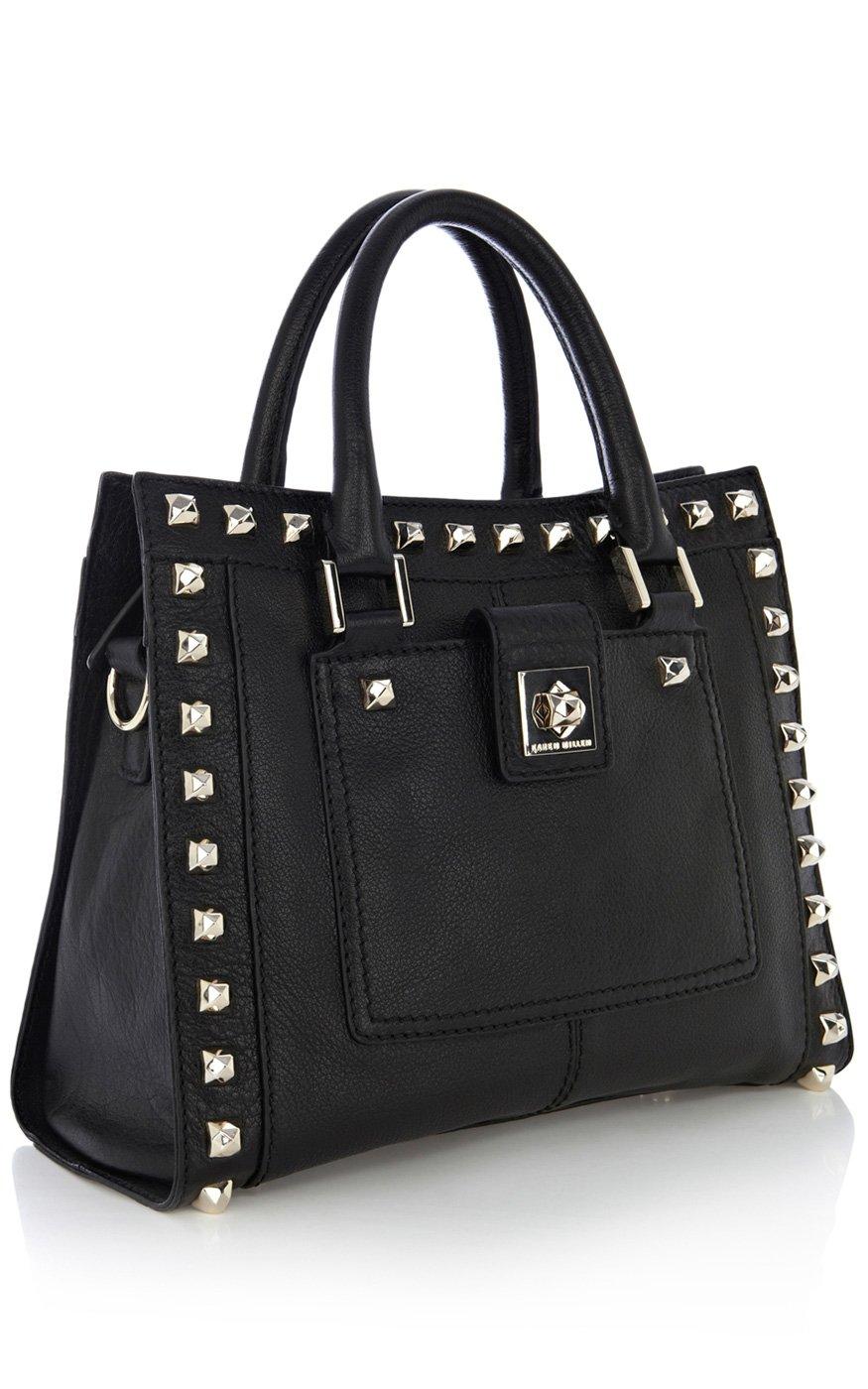 6f0720b240 Lyst - Karen Millen Studded Leather Box Bag in Black