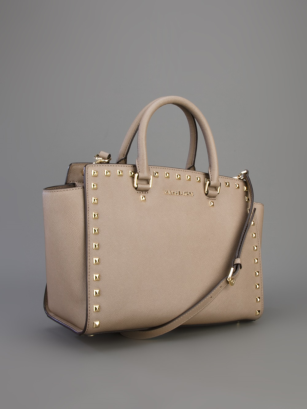 060625185dd6 ... germany lyst michael michael kors selma studded satchel in metallic  a23c3 16a76