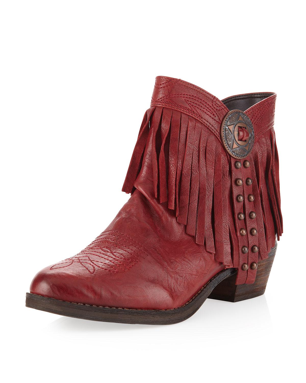 19aa32c628e7 Lyst - Sam Edelman Sidney Fringe Short Boot Sidney Red in Red