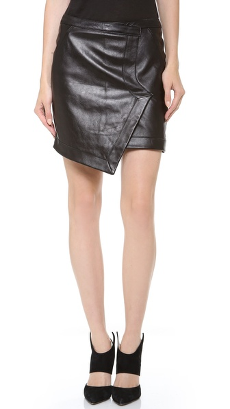 Tess giberson Leather Wrap Skirt in Black | Lyst