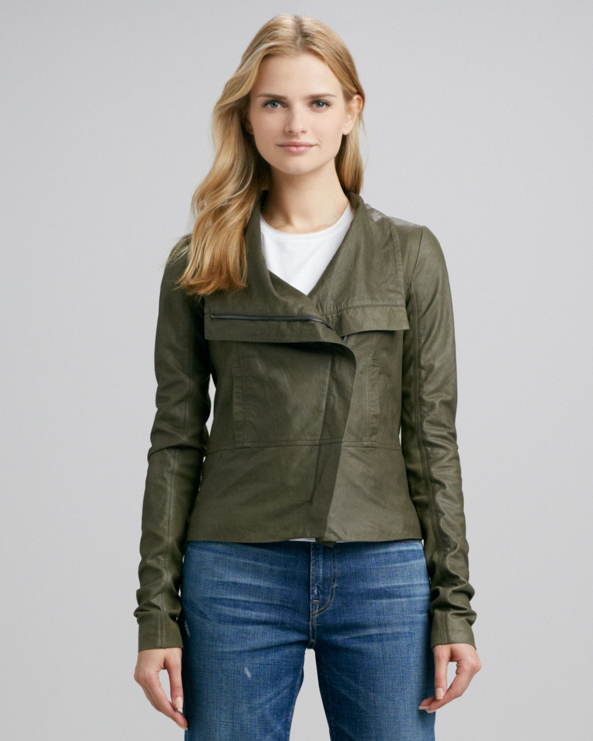 good out x how to buy amazing quality Vince Asymmetric Leather Jacket Olive in Green - Lyst