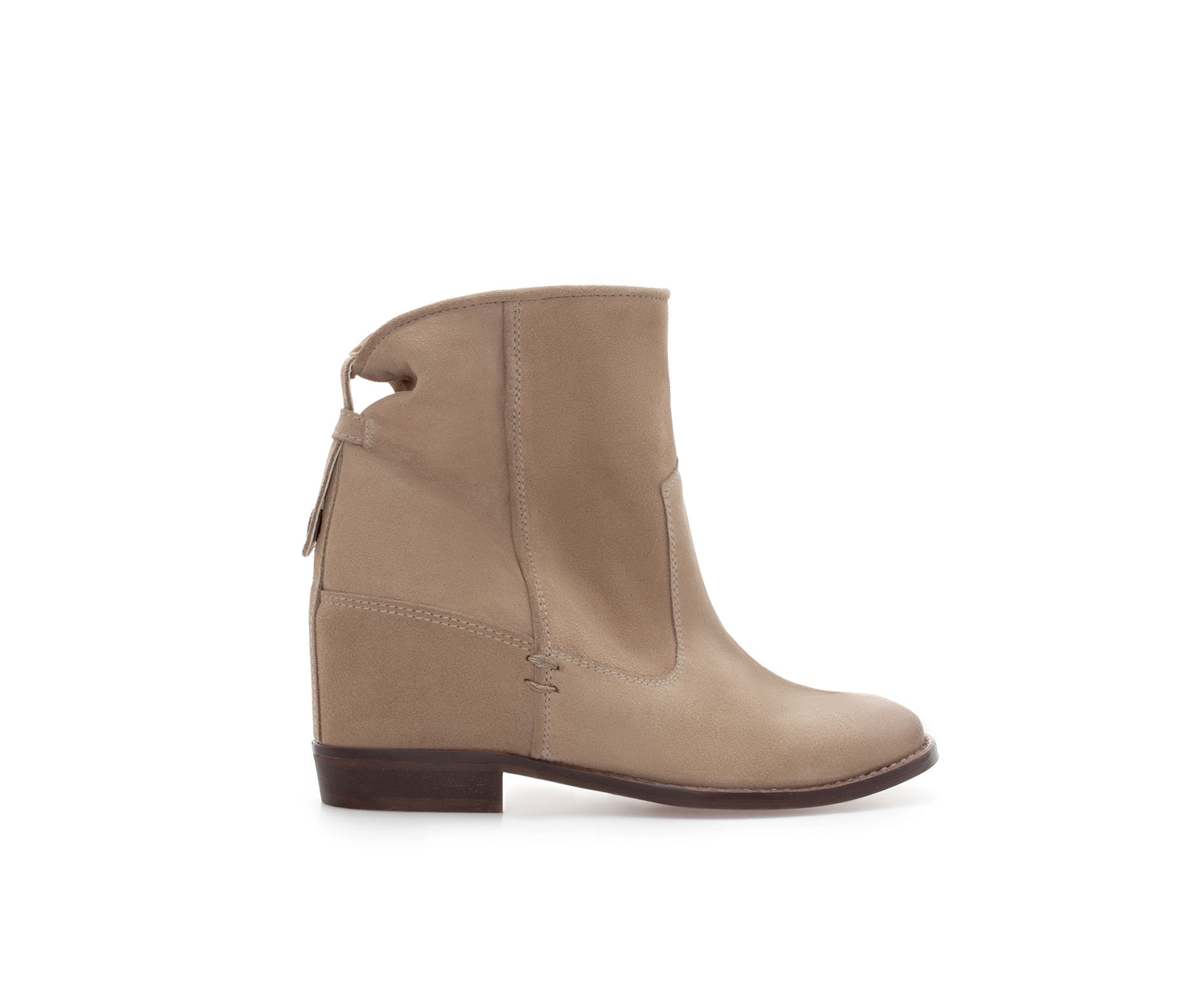 zara leather ankle boot with interior wedge in beige