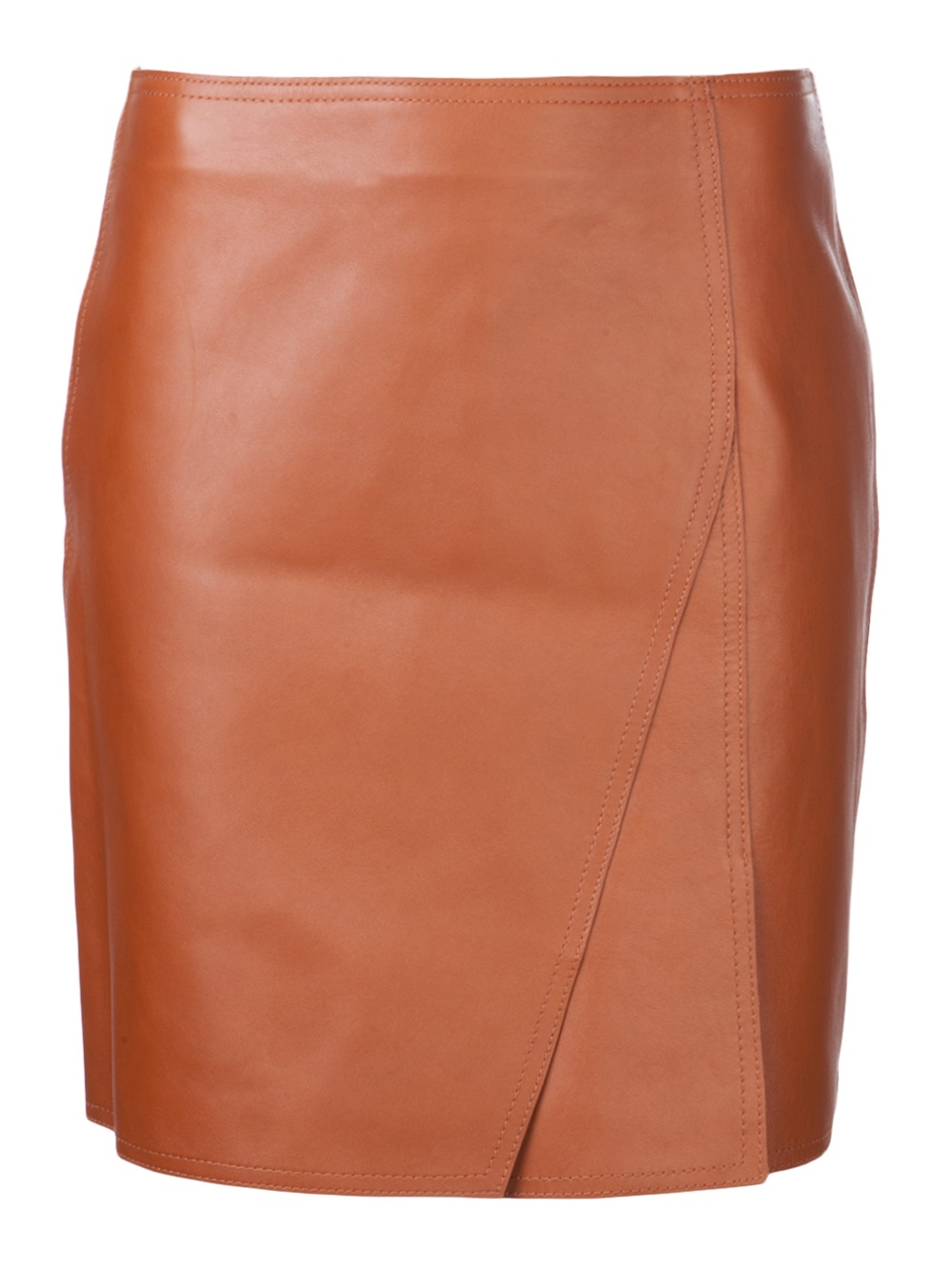 3 1 phillip lim a line leather mini skirt in brown lyst