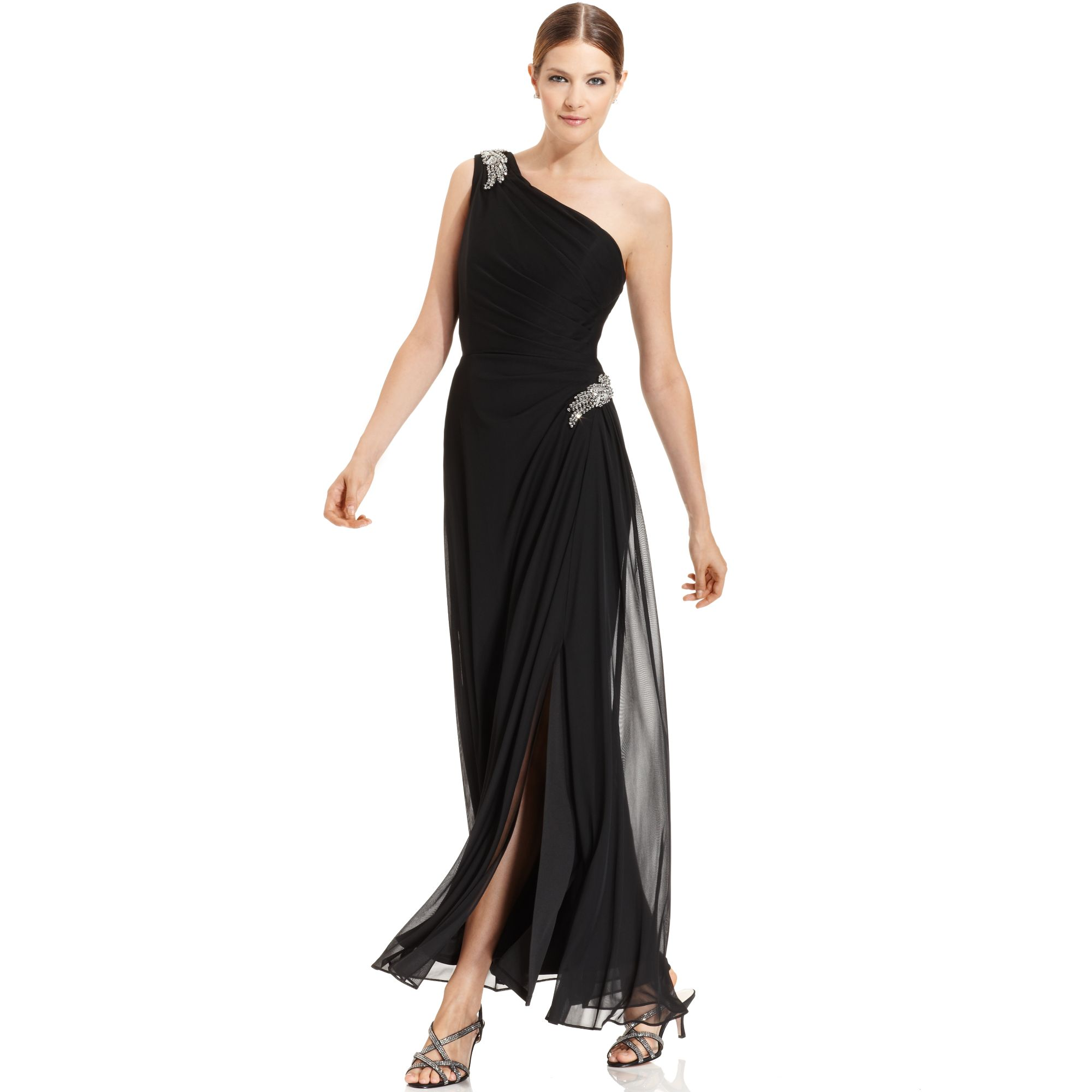 Lyst - Alex Evenings Sleeveless Oneshoulder Draped Gown in Black
