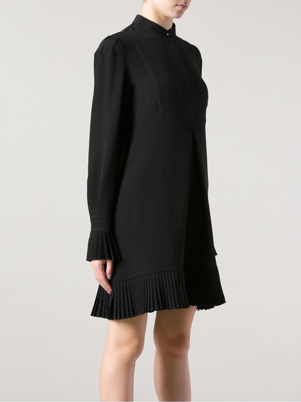 Alexander Mcqueen Pleated Blouse Dress In Black Lyst