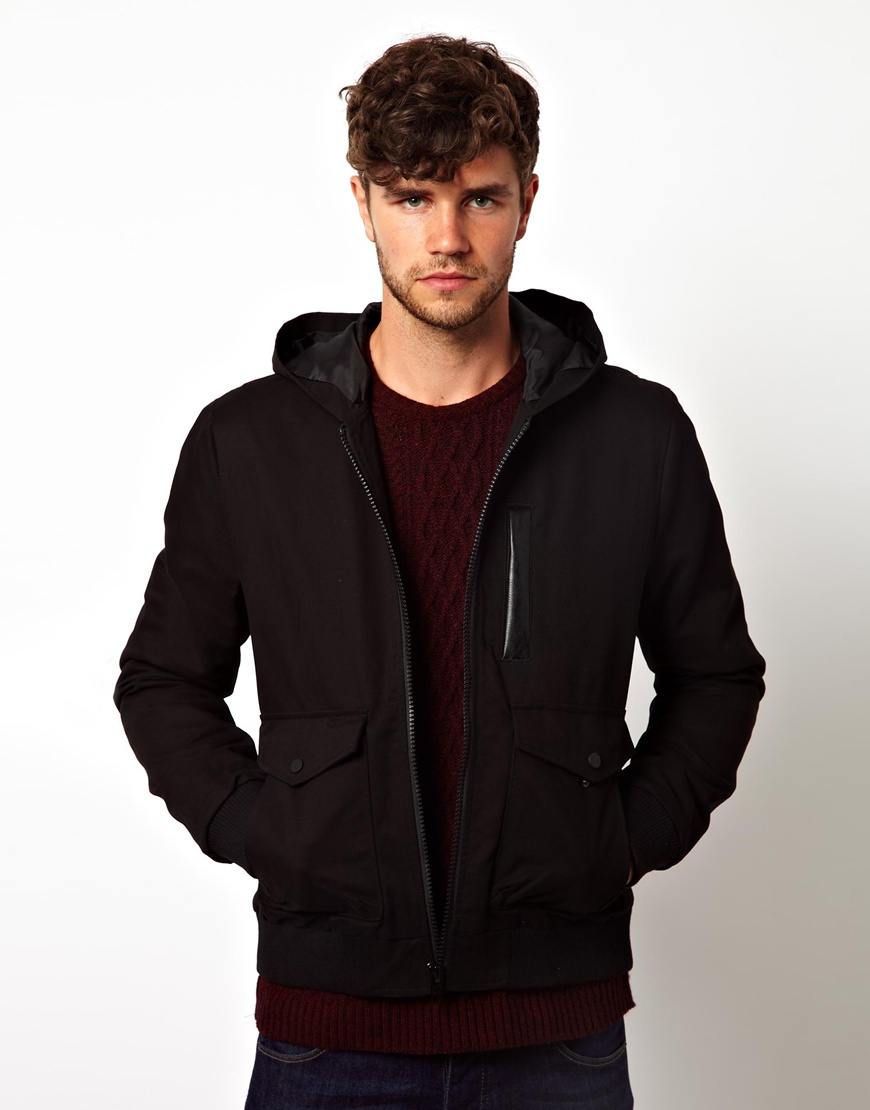 Asos Hooded Bomber Jacket in Black for Men | Lyst