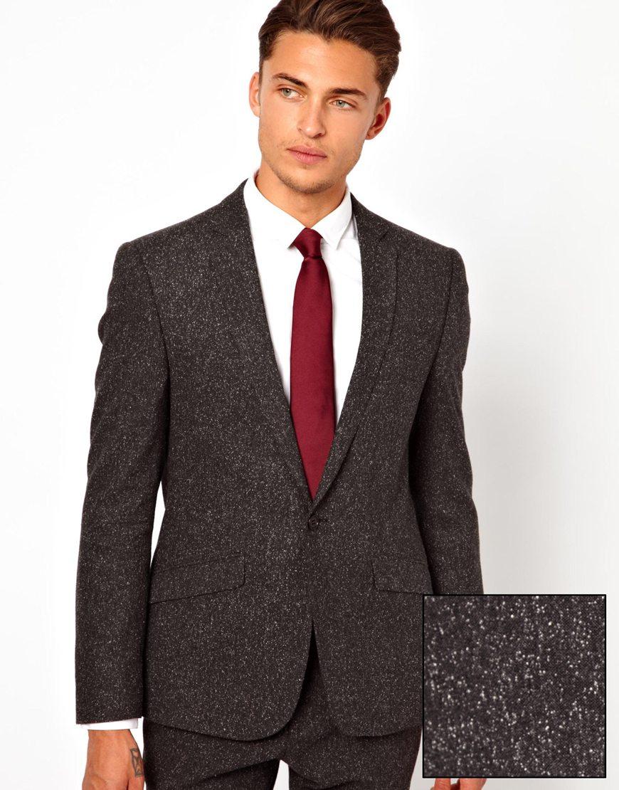 Asos Skinny Fit Suit Jacket in Fleck in Gray for Men | Lyst