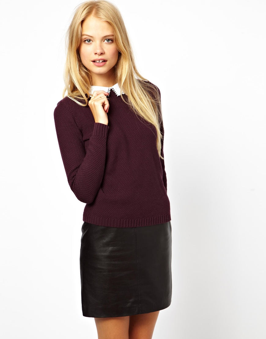 Asos Jumper with Lace Collar Detail in Purple | Lyst
