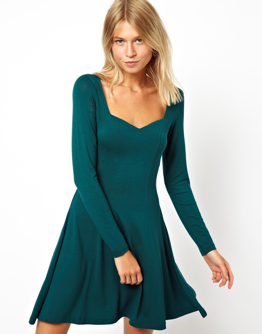 Asos Skater Dress With Sweetheart Neck And Long Sleeve in ...