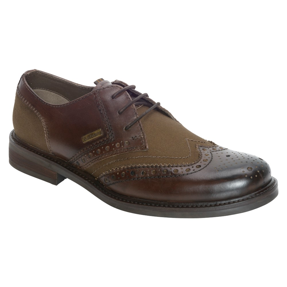 barbour westoe leather and canvas brogue derby shoes in