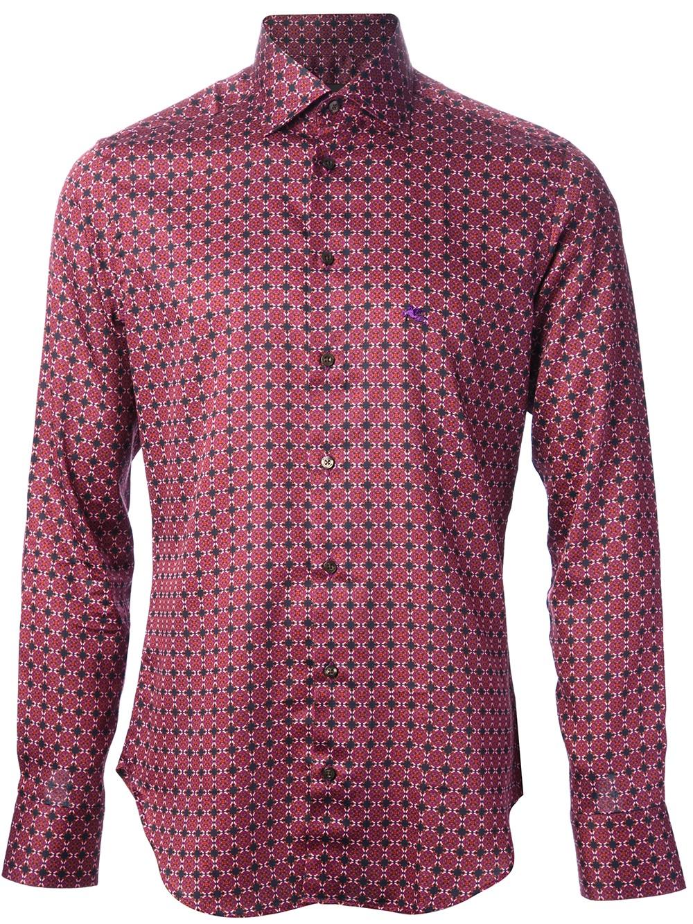 Etro dress shirt in purple for men pink purple lyst for Etro men s shirts