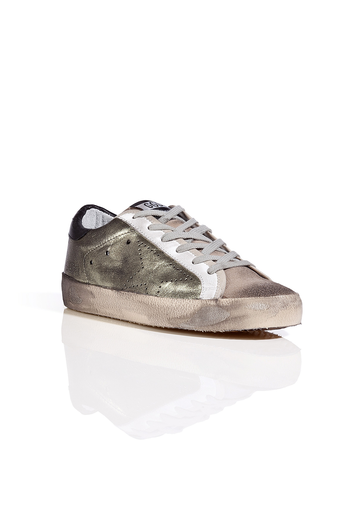 golden goose deluxe brand leather superstar sneakers in whitelime in white lyst. Black Bedroom Furniture Sets. Home Design Ideas