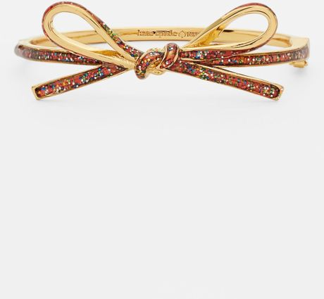 Kate spade skinny mini bow bangle in multicolor multi glitter gold