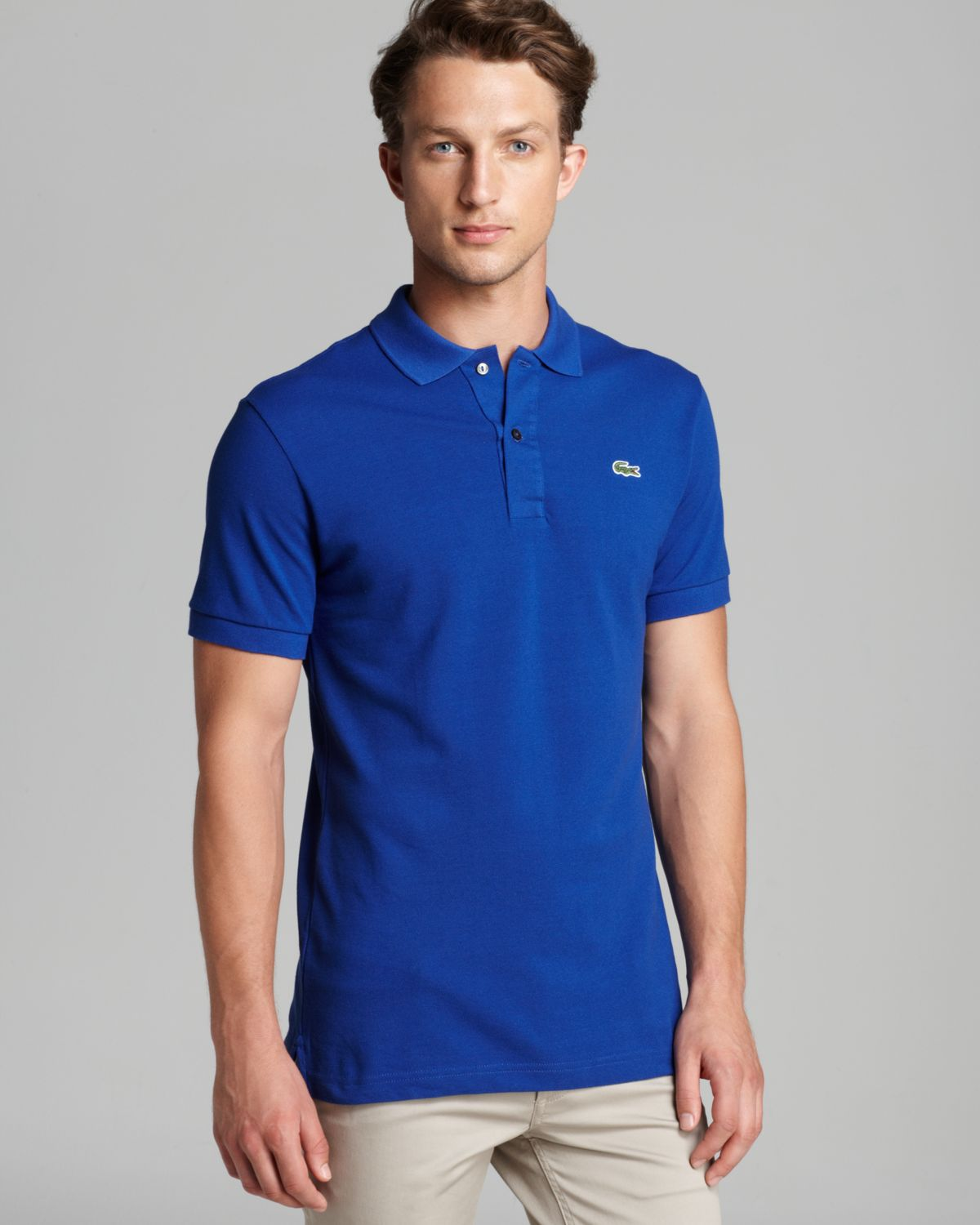 Lacoste men s classic fit pink short sleeve polo shirt 6 for Short sleeve lacoste shirt