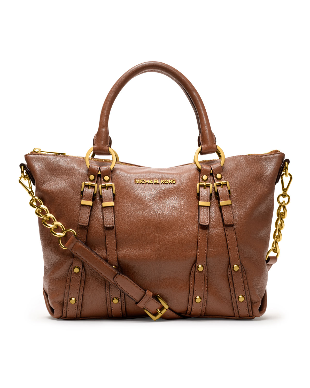 095a50610c01 usa pebbled shoulder lyst michael kors michael medium leigh satchel in  brown . c50d3 c1b78