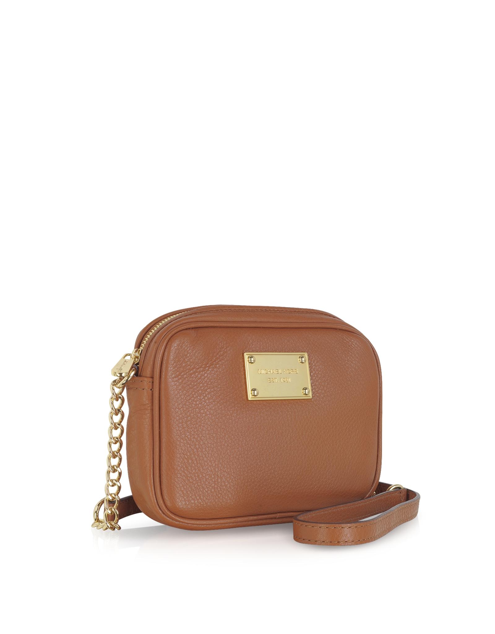 michael kors jet set item leather crossbody bag in brown. Black Bedroom Furniture Sets. Home Design Ideas