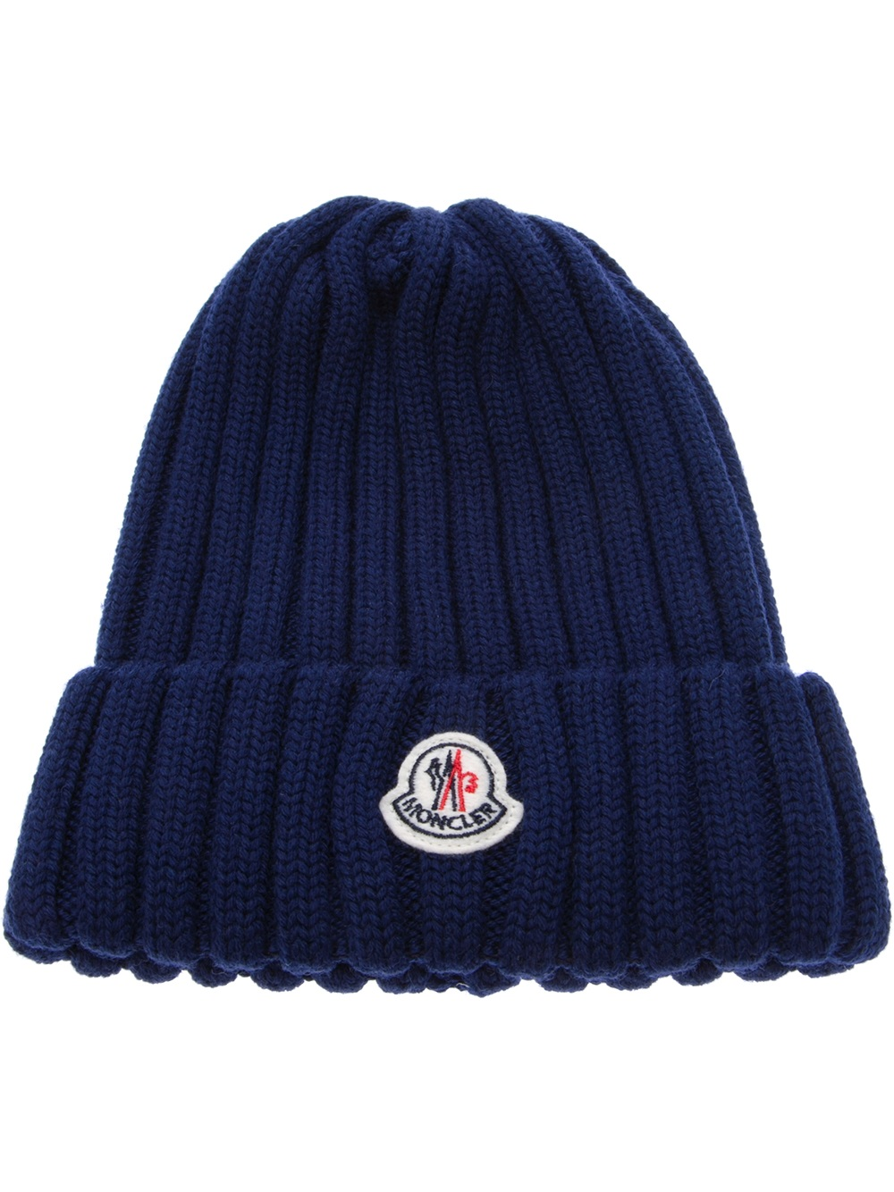 440b760f169 Lyst - Moncler Wool Ribbed Knit Beanie Hat in Blue for Men