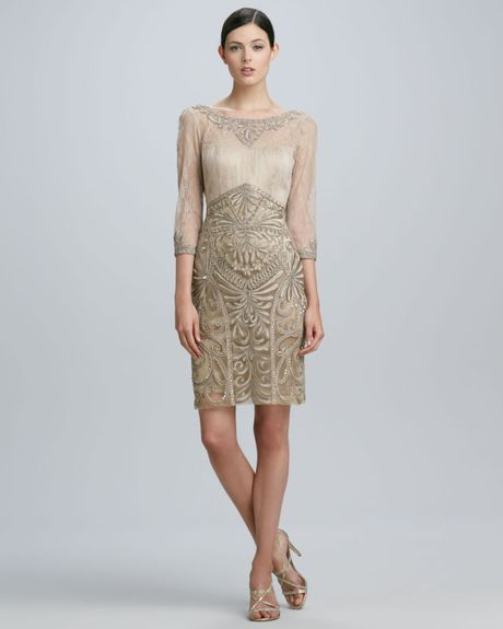 Sue Wong Drapeback Beaded Cocktail Dress In Gold (BEIGE