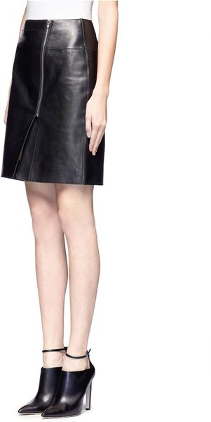 wang asymmetric zip front leather skirt in black