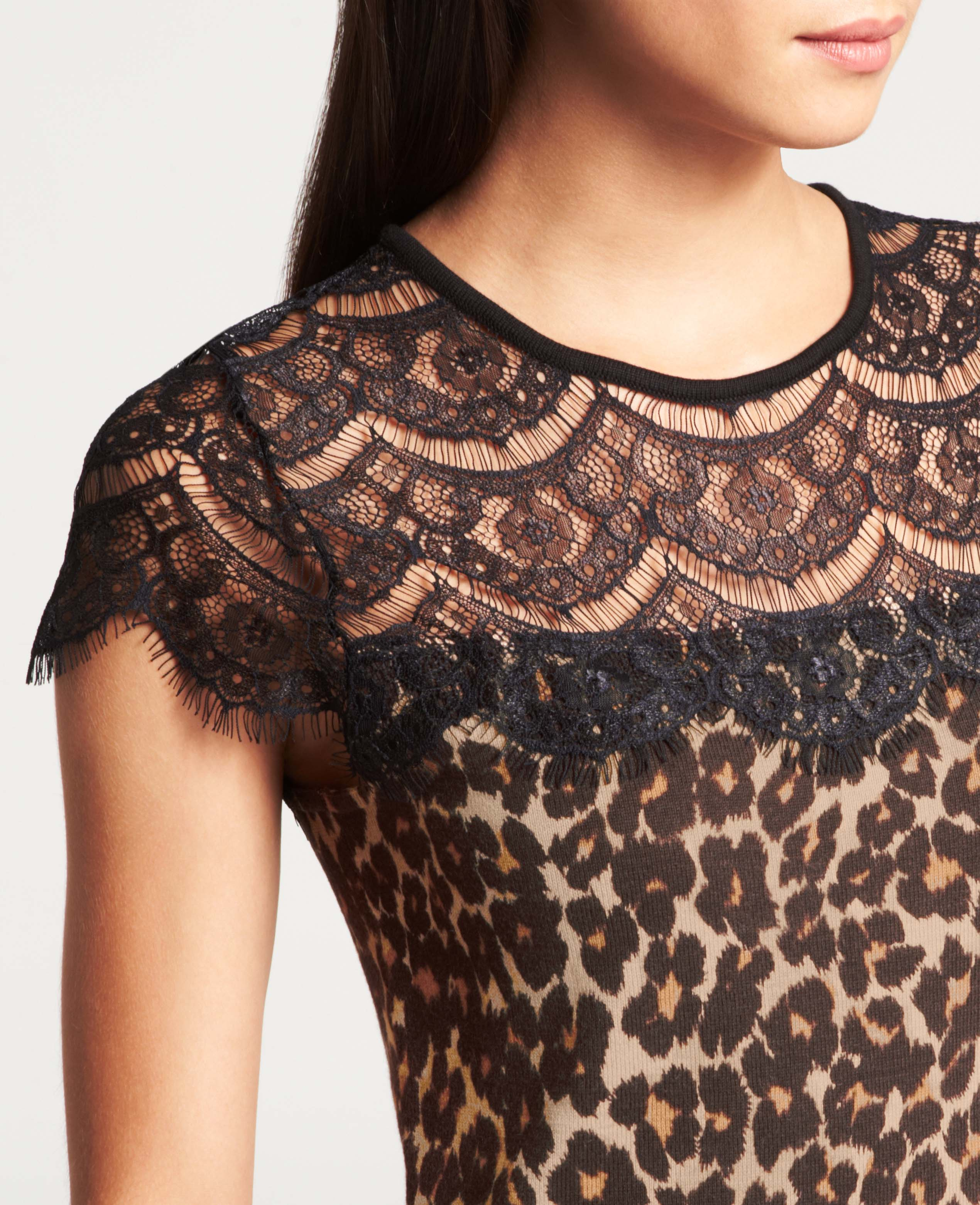 a616eced9 Ann Taylor Leopard Print Lace Top Shell in Black - Lyst