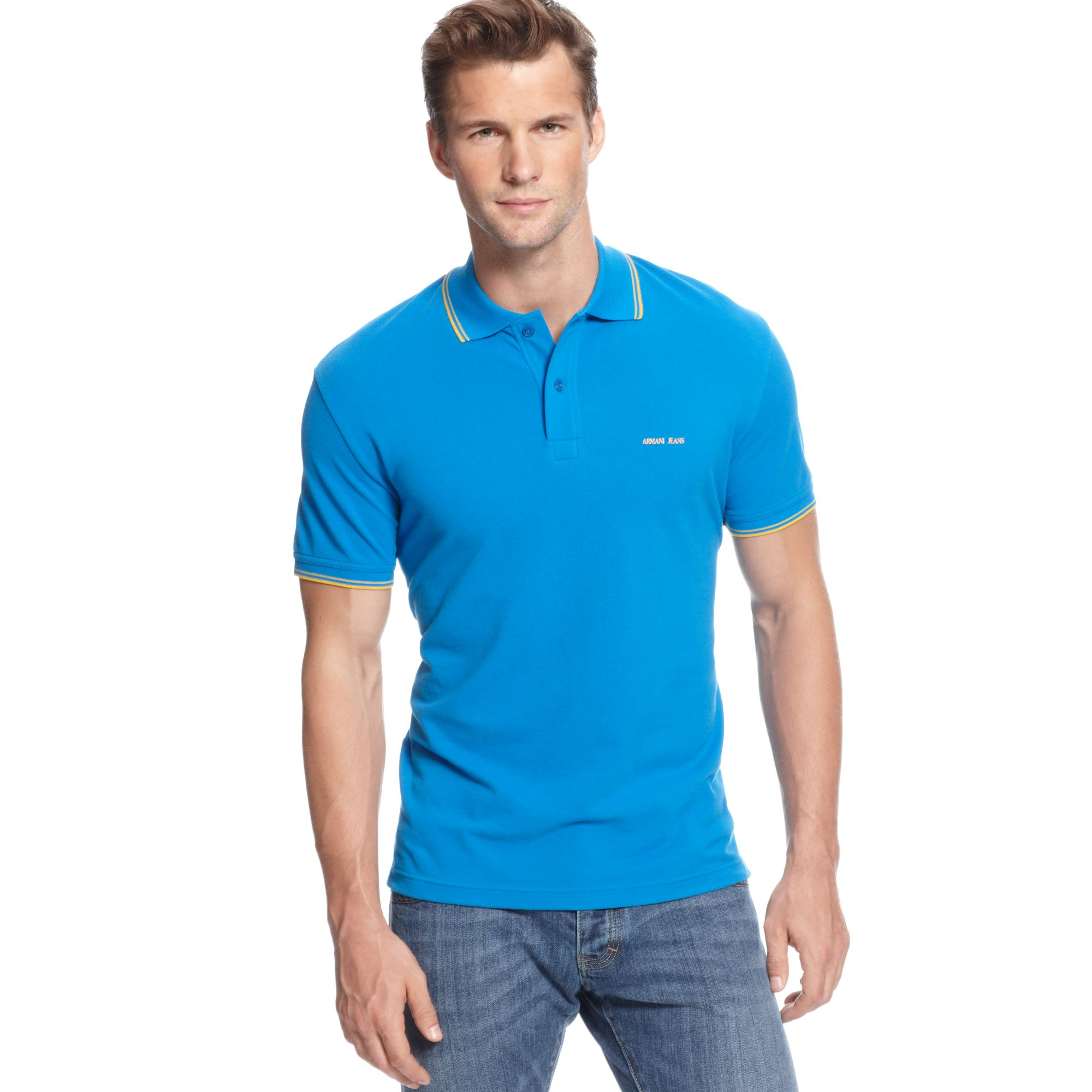 Armani jeans tipped pique polo shirt in blue for men lyst for Polo shirt and jeans