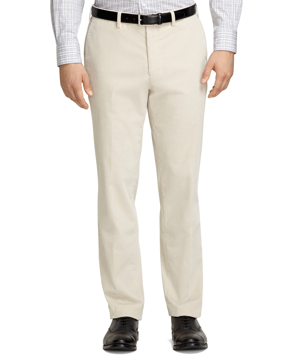 Brooks brothers Plain-front Cream Corduroy Trousers in Natural for ...