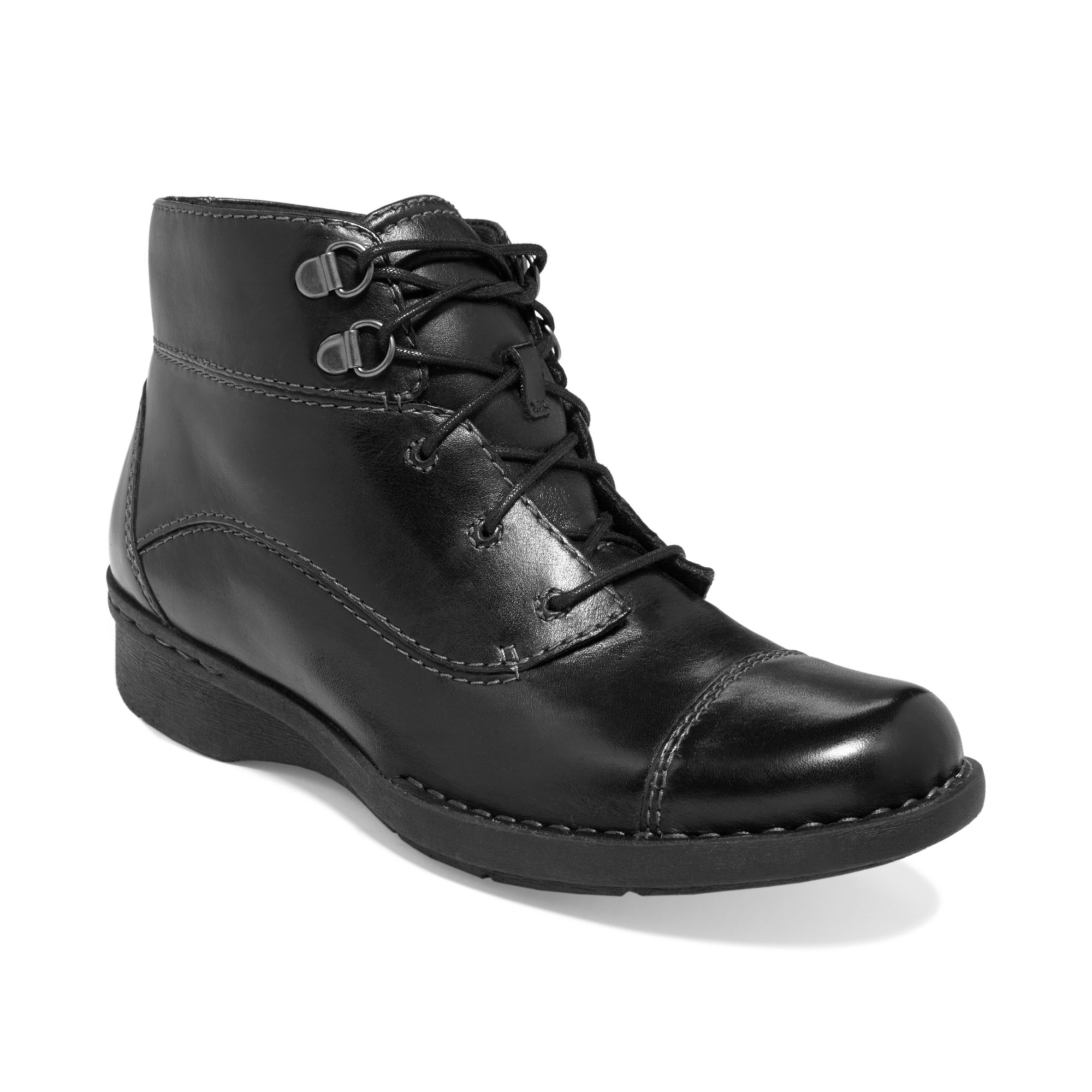 Clarks Womens Shoes Whistle August Lace Booties in Black ...