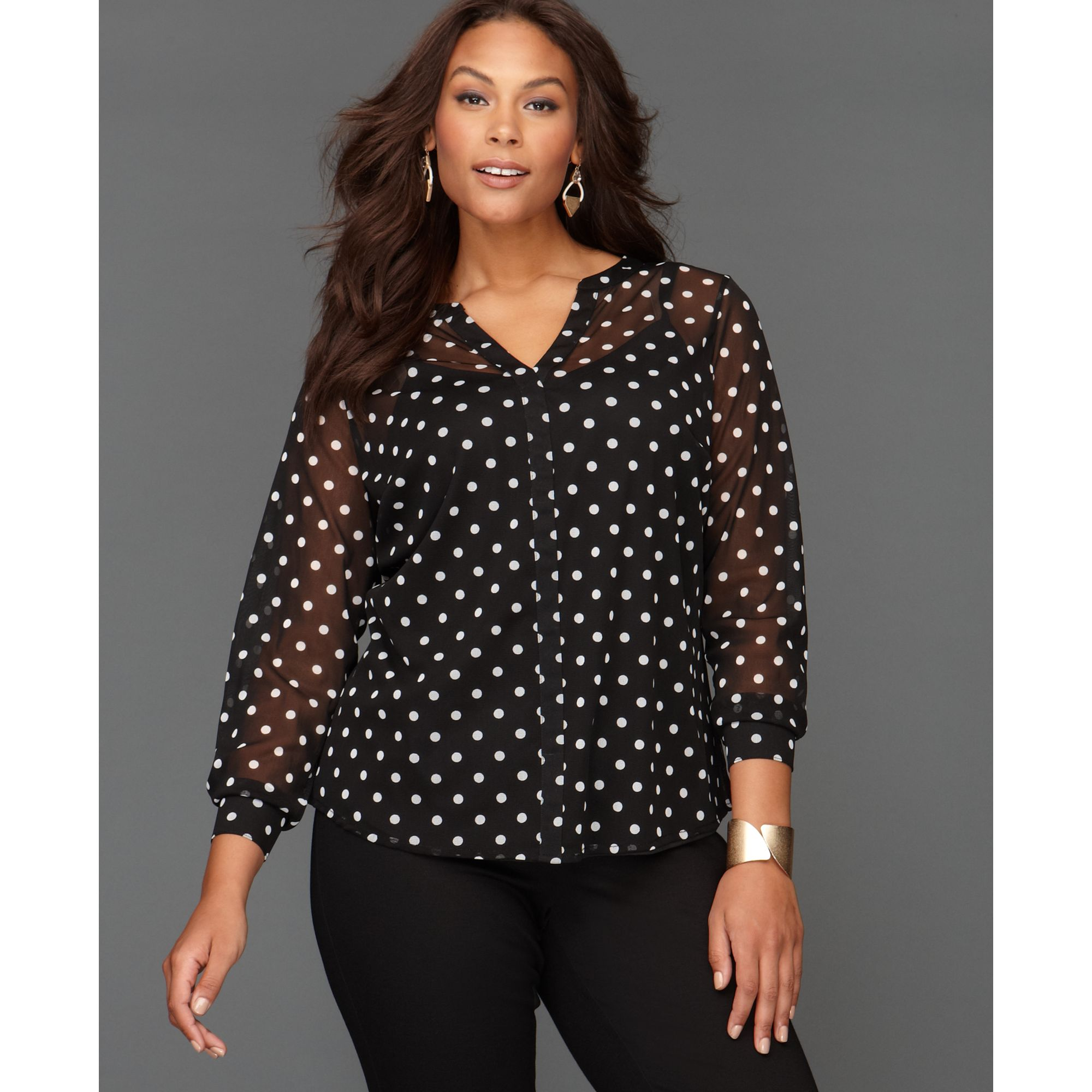 Super Lyst - Inc International Concepts Polka-dot Blouse in Black #LZ16