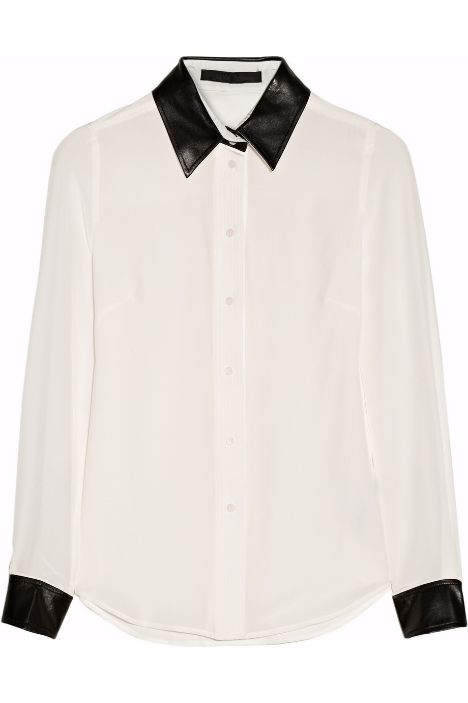498f2556b Karl Lagerfeld Vive Leather-trimmed Silk Shirt in White - Lyst