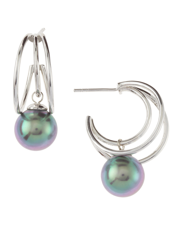 ce779683f Majorica Gray Pearl Triband Hoop Earrings in Metallic - Lyst