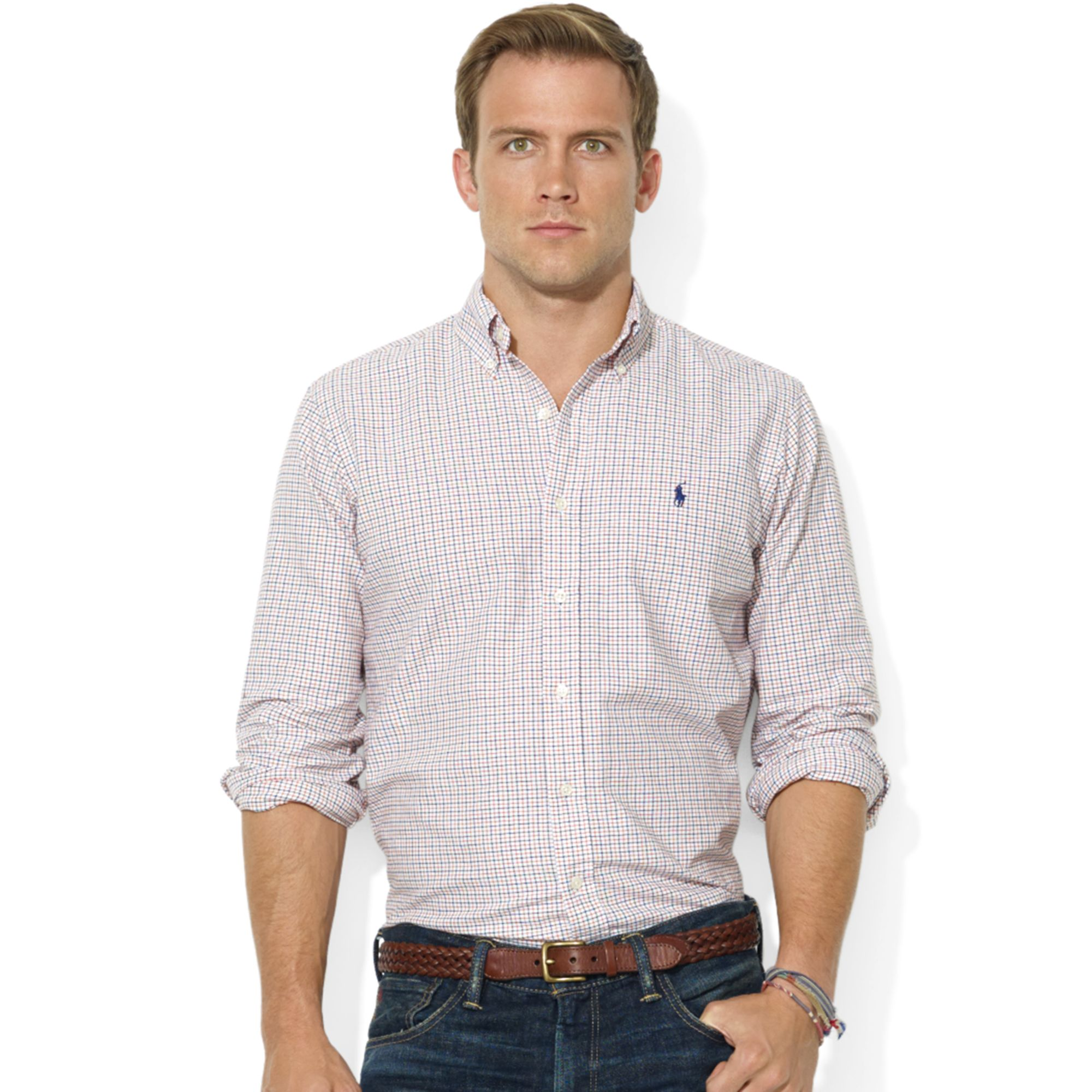 ralph lauren classic fit long sleeve checked cotton oxford