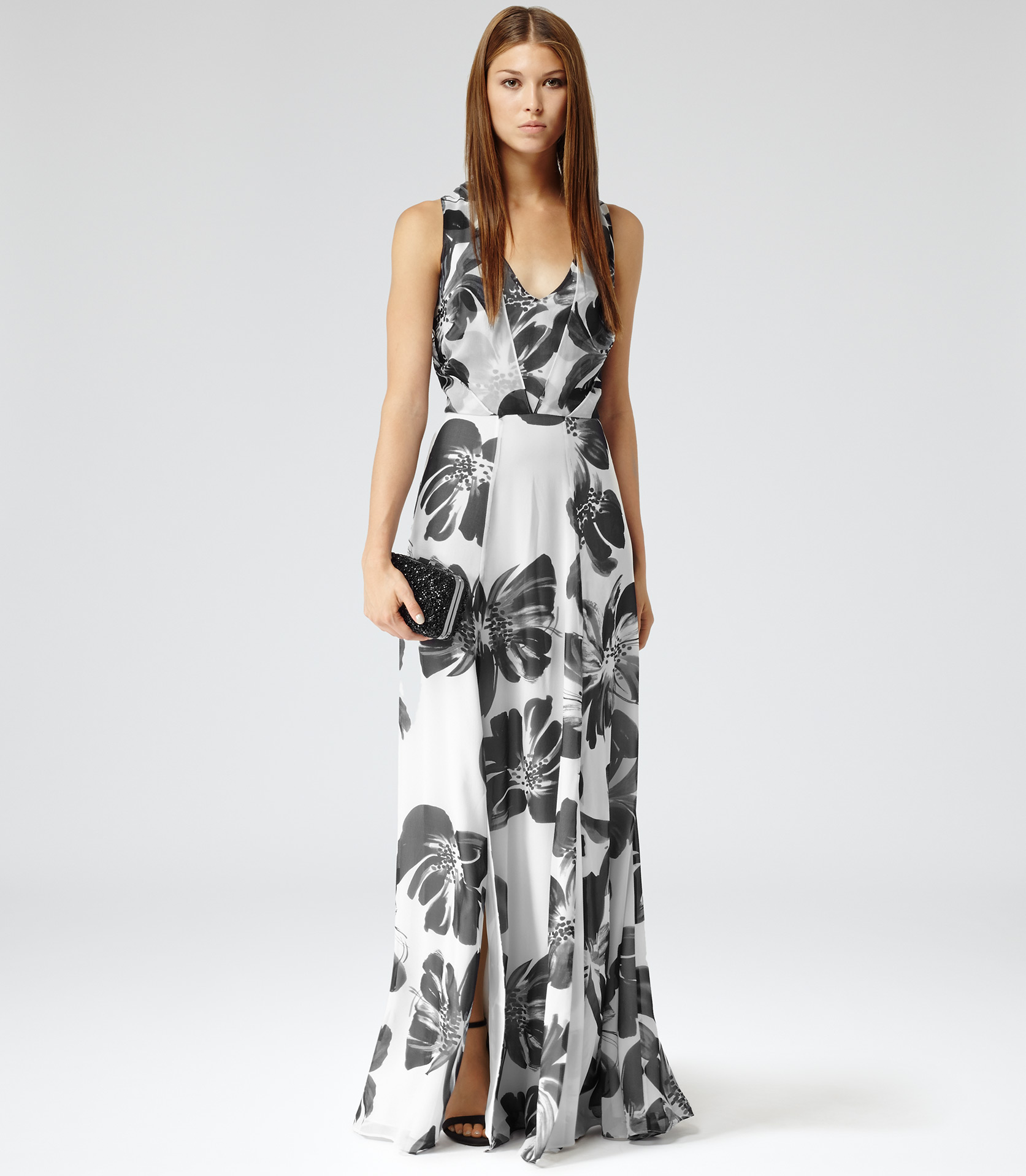 Reiss Alice Maxi Floral Print Silk Maxi Dress In White Lyst