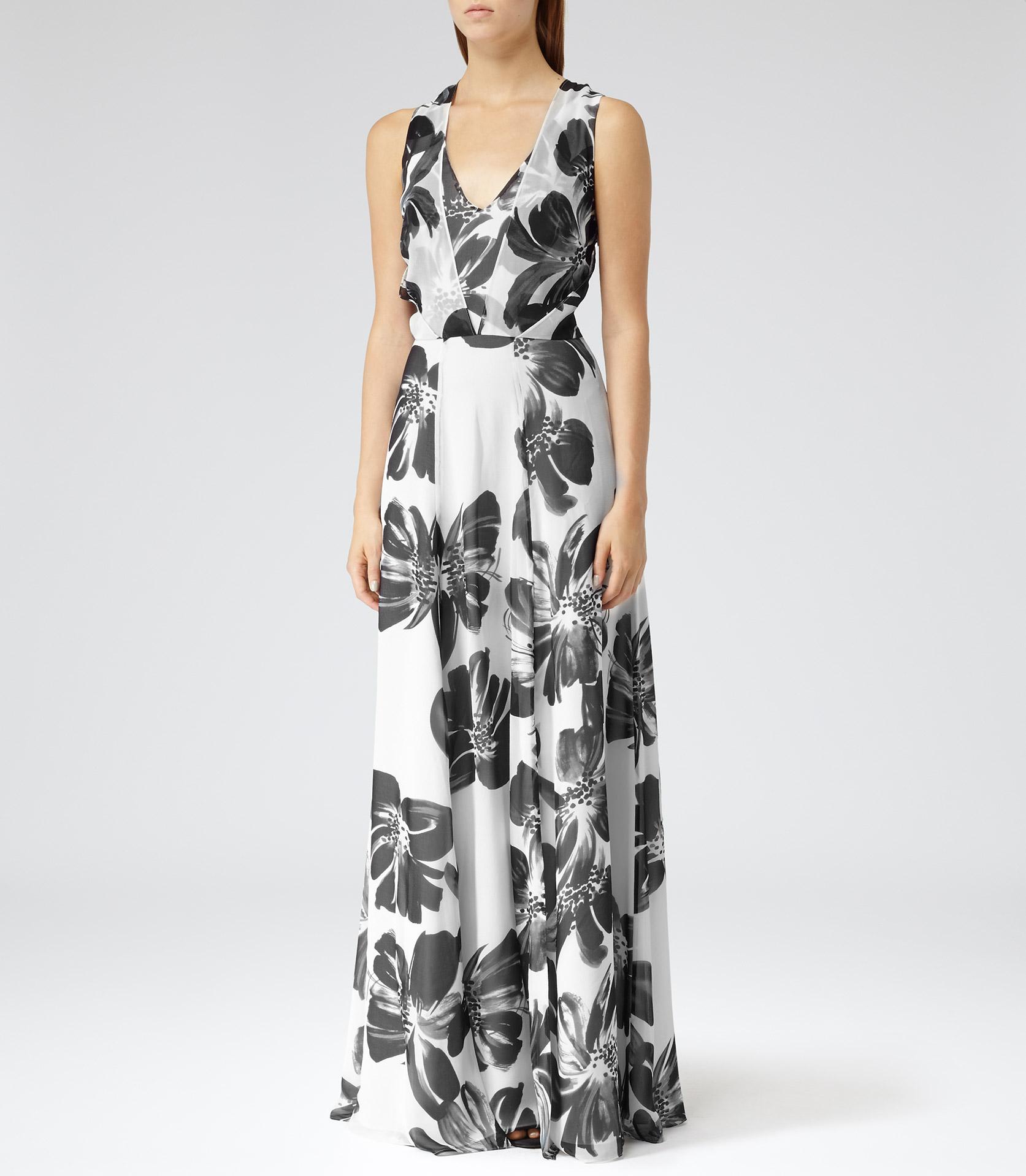 Lyst Reiss Alice Maxi Floral Print Silk Maxi Dress In White