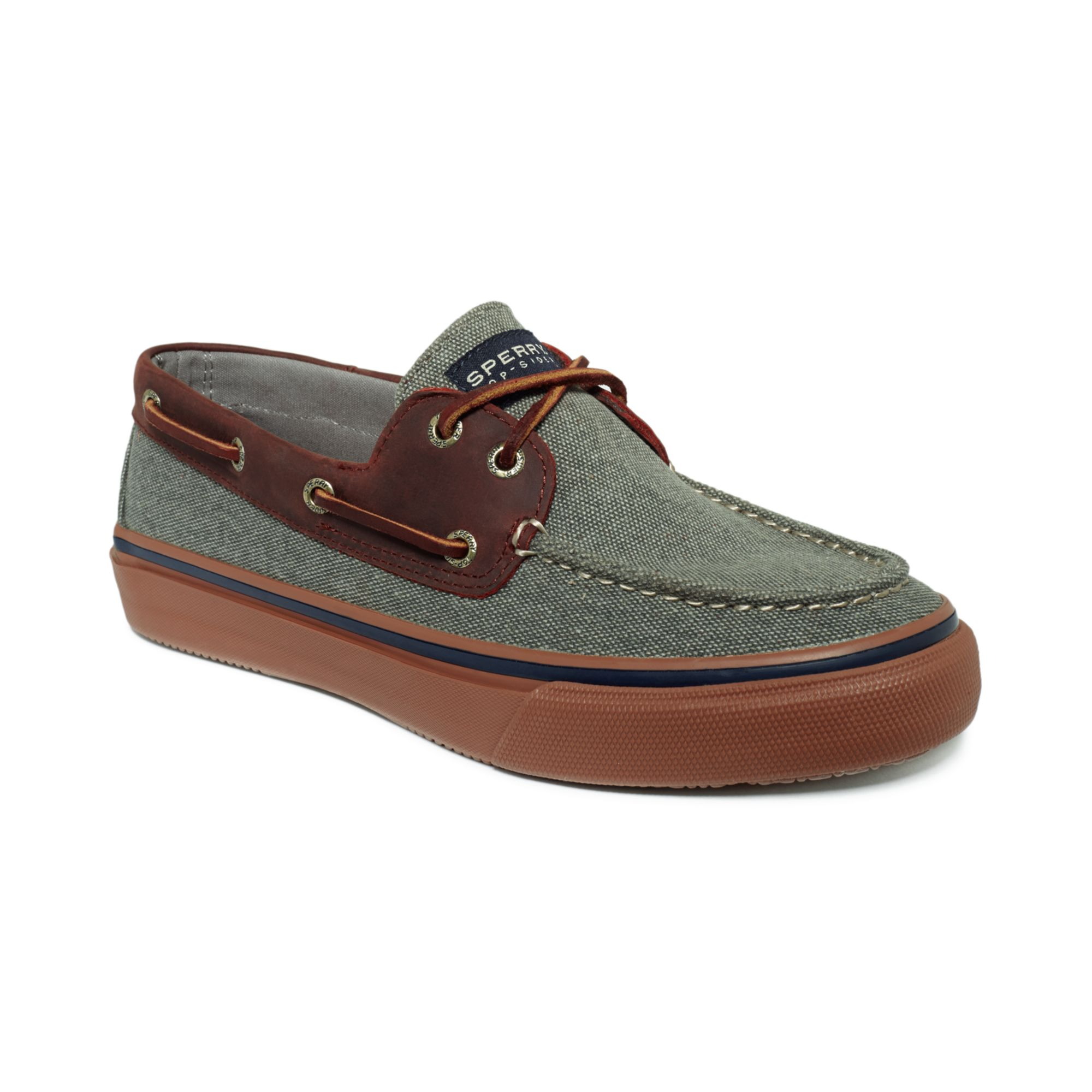 Sperry Grey Canvas Boat Shoes Mens