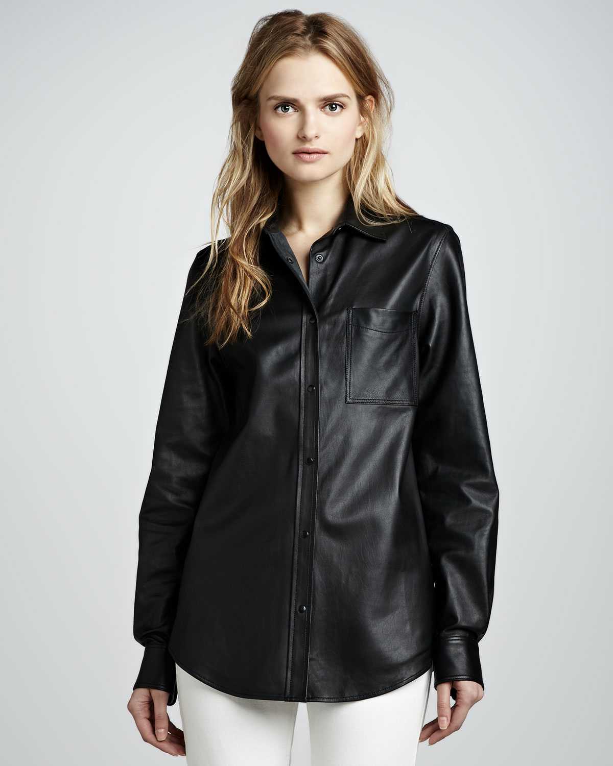 Lyst Theory Will Leather Buttondown Shirt In Black