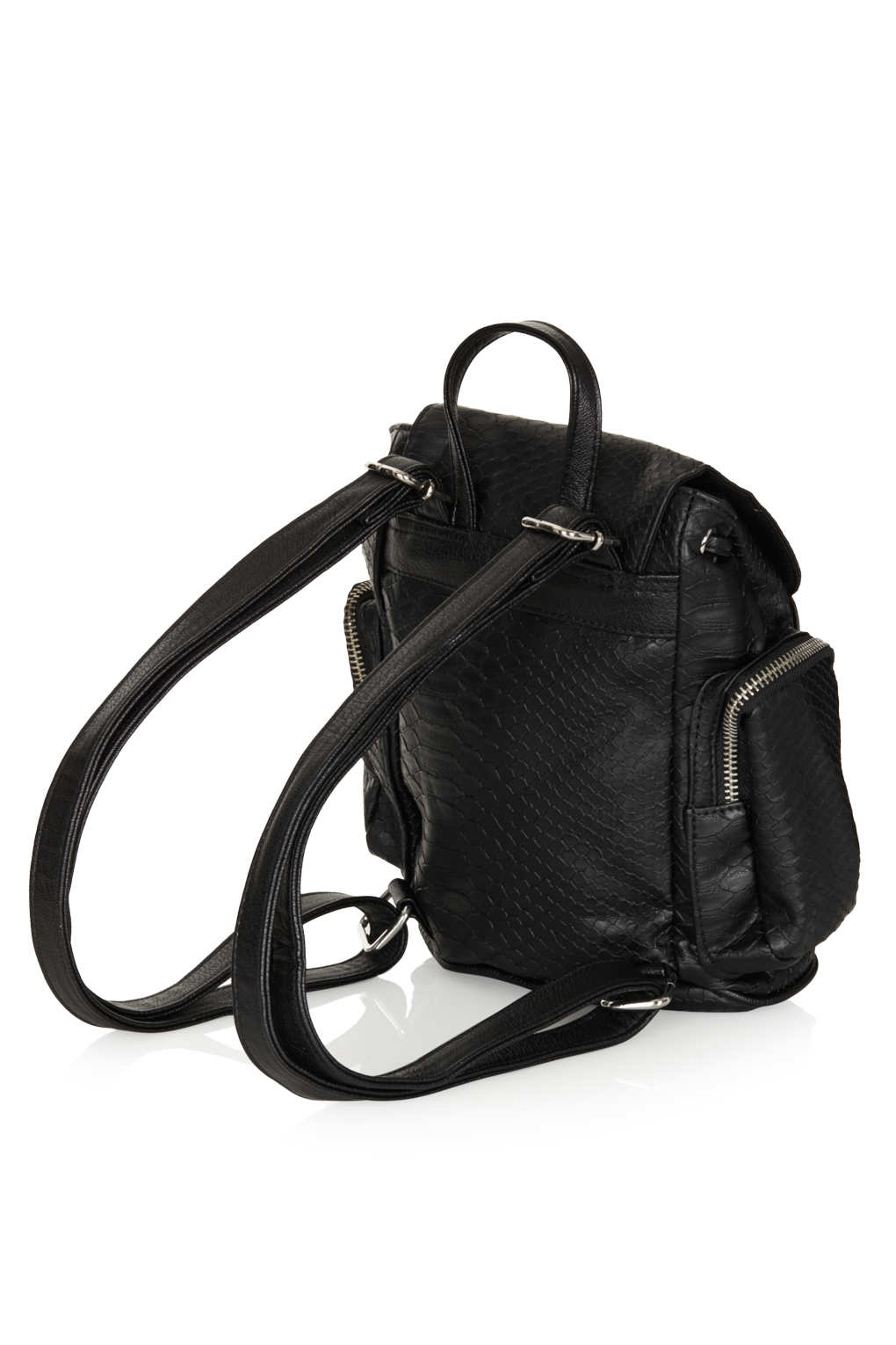 6d7302adfc Lyst - TOPSHOP Mini Snake Zippy Backpack in Black