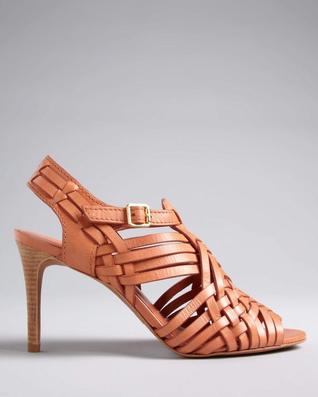 1efdf5d8e552 Tory Burch Huarache Sandals Nadia Mid Heel in Brown - Lyst
