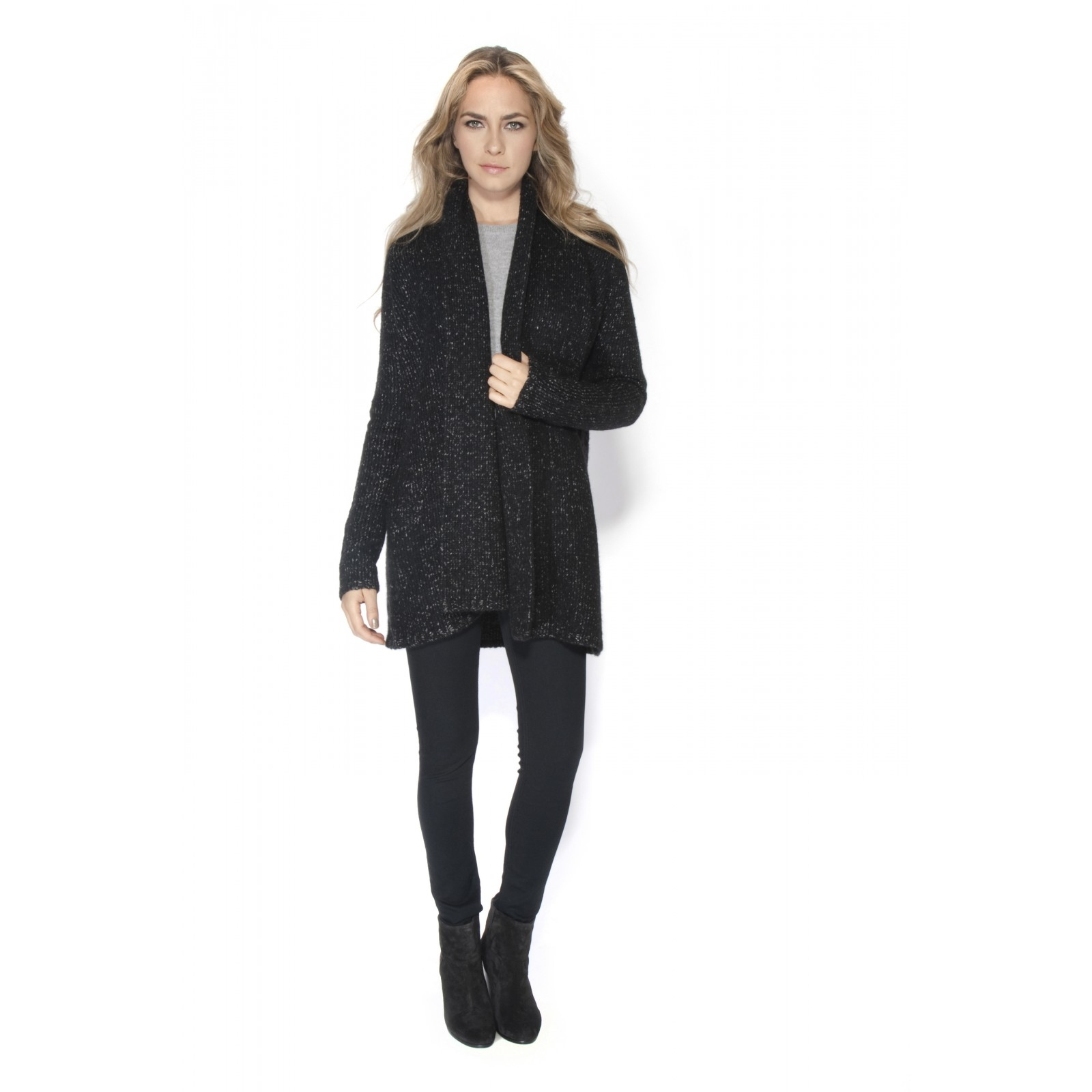 Vince Tweed Sweater Coat in Black | Lyst