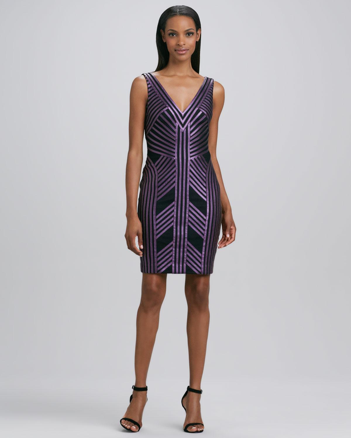 Aidan mattox striped fauxleather cocktail dress in purple lyst gallery previously sold at neiman marcus ombrellifo Choice Image