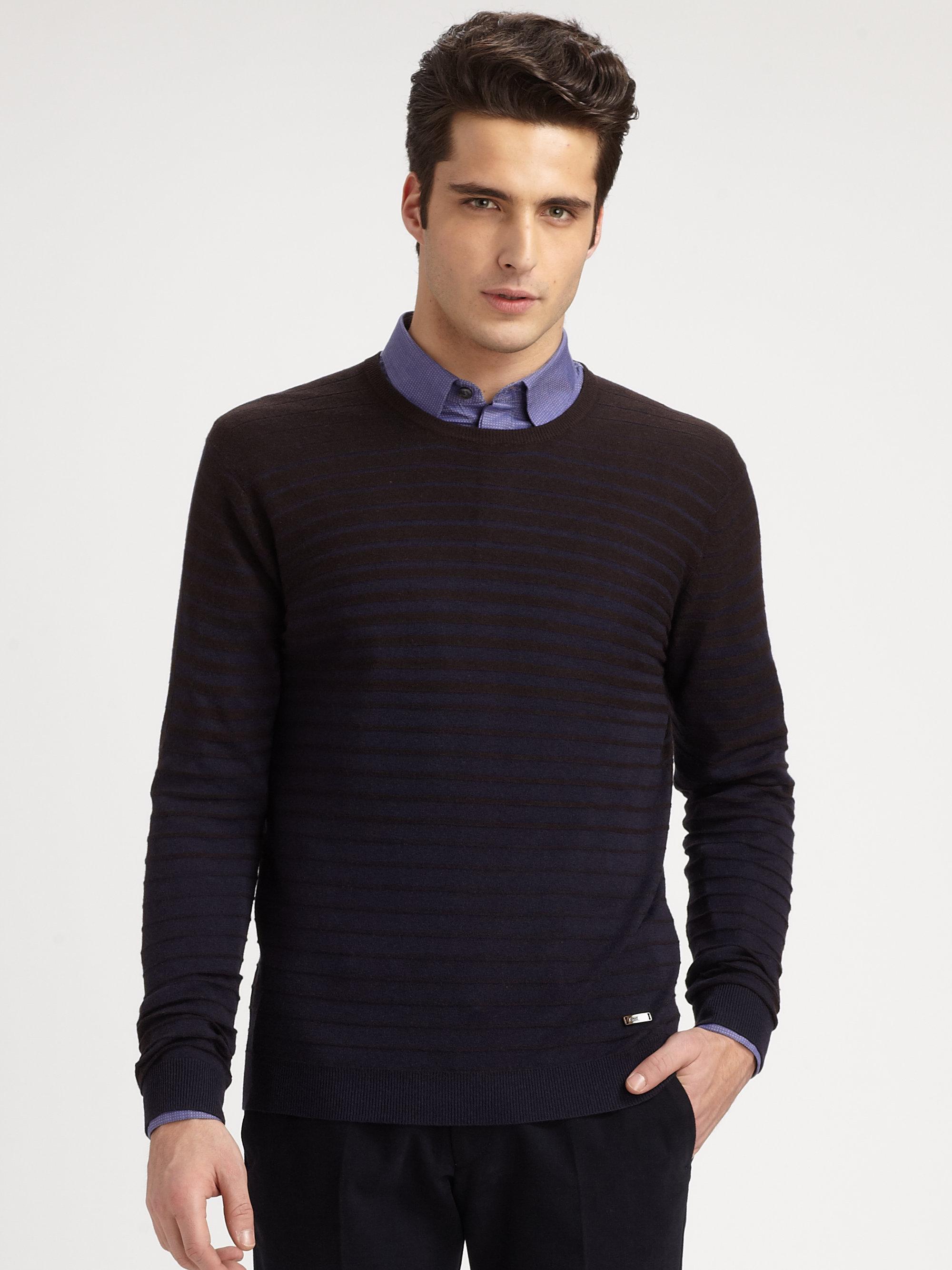 Armani Silk Camel Hair Texturedstripe Sweater in Brown for Men | Lyst