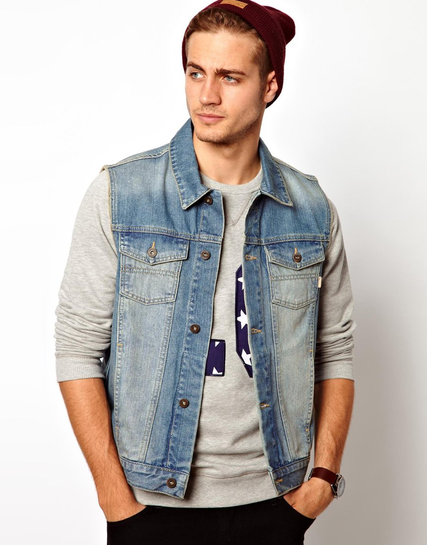 the north face asos sleeveless denim jacket in blue for men lyst. Black Bedroom Furniture Sets. Home Design Ideas