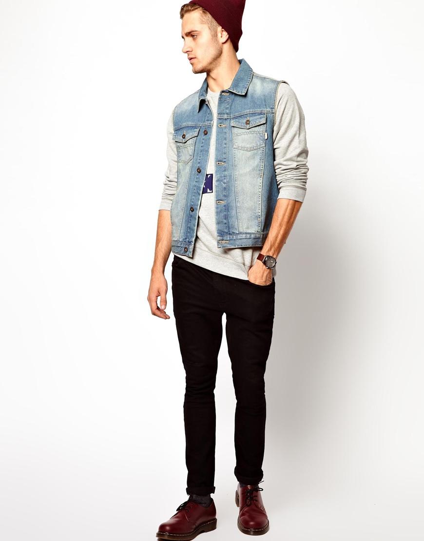 Asos Sleeveless Denim Jacket in Blue for Men | Lyst